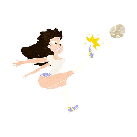 kicking ball: de dibujos animados mujeres futbolista golpeo de bal�n