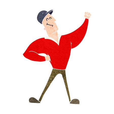 heroic: cartoon man striking heroic pose Illustration