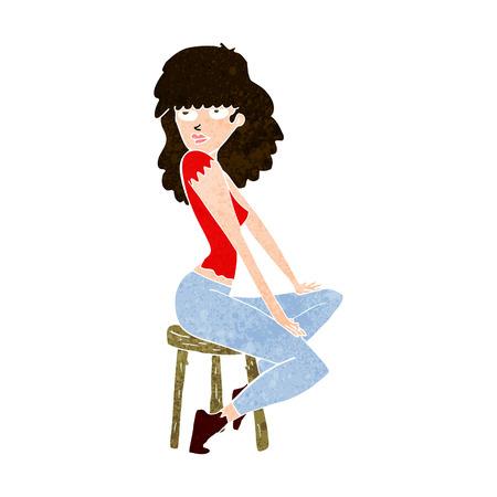 striking: cartoon woman striking pose