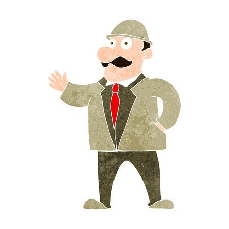 bowler hat: cartoon sensible businessman in bowler hat Illustration