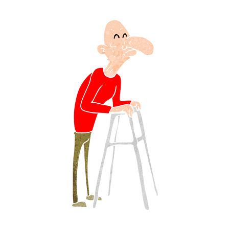 cartoon old man with walking frame Illustration