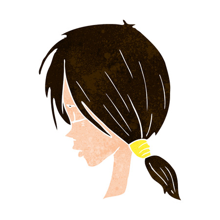 crazy hair: cartoon girl looking thoughtful