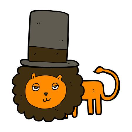 lion clipart: cartoon lion in top hat