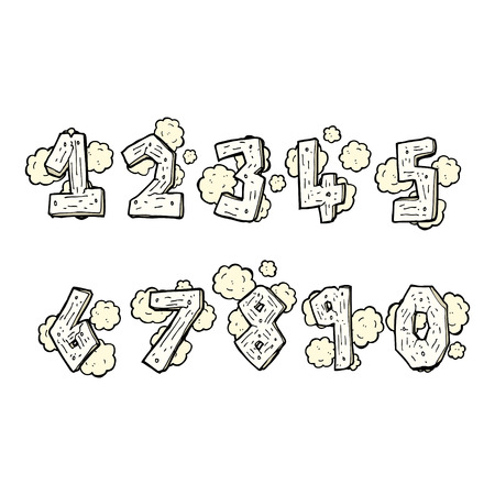 cartoon wooden numbers