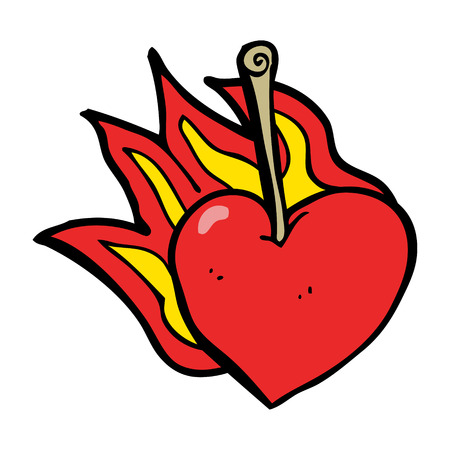 flaming heart: cartoon flaming heart cherry Illustration