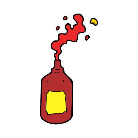 squirting ketchup: cartoon squirting ketchup bottle Illustration