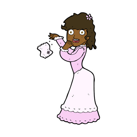 dropping: cartoon victorian woman dropping handkerchief Illustration