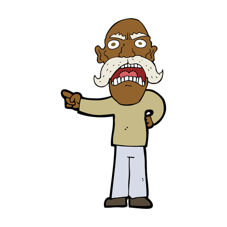 man pointing: cartoon angry old man