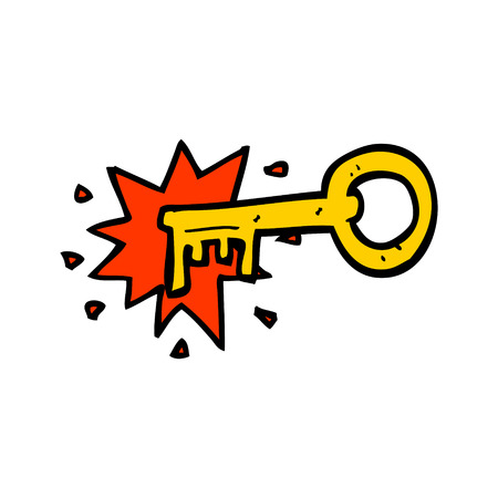 hand key: cartoon old key