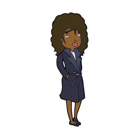 cartoon woman in trench coat Vector