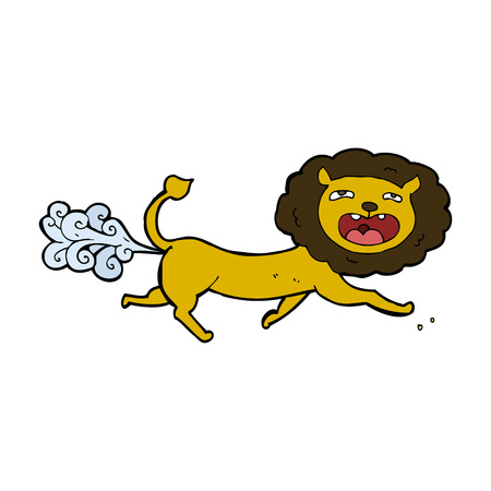 cartoon farting lion Vector