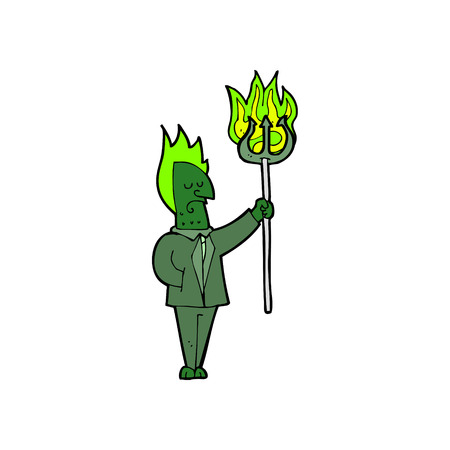 cartoon devil: cartoon devil with pitchfork