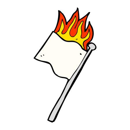 no surrender: cartoon burning white flag