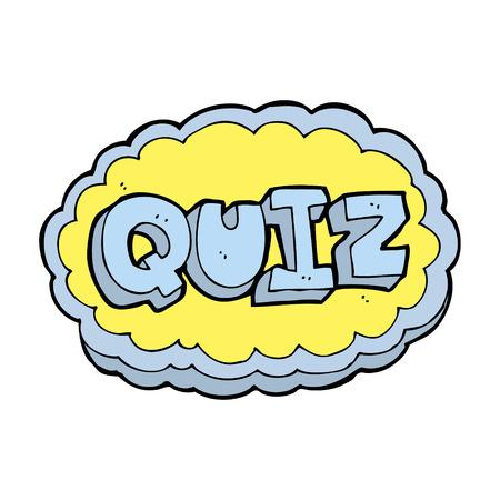 kwis: cartoon quiz sign