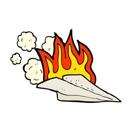 burning paper: cartoon paper airplane Illustration