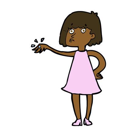bague de fiancaille: femme de bande dessin�e montrant la bague de fian�ailles Illustration