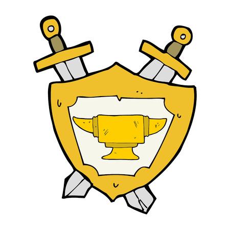 anvil: cartoon blacksmith anvil heraldry symbol Illustration