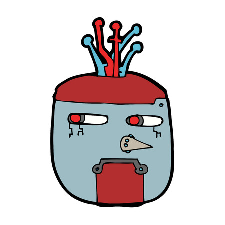 robot head: cartoon gold robot head