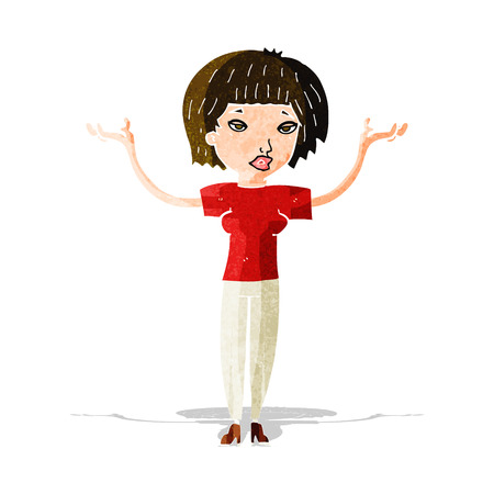 shoulders: cartoon woman shrugging shoulders