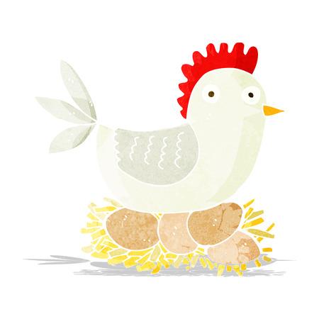 cartoon hen on eggs Illustration