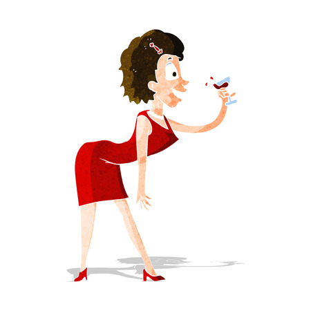 cartoon happy woman with drink