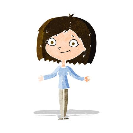 unconcerned: cartoon woman shrugging shoulders