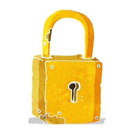 rusty padlock: cartoon rusty lock