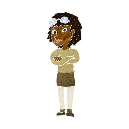 safety goggles: cartoon woman with crossed arms and safety goggles