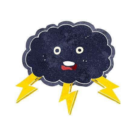 cartoon cloud and lightning bolt symbol Vector