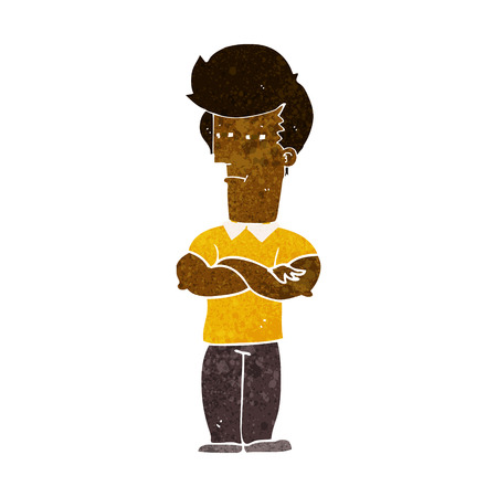 folded arms: cartoon man with folded arms