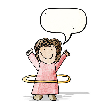 childs drawing of a girl with toy hoop Vector
