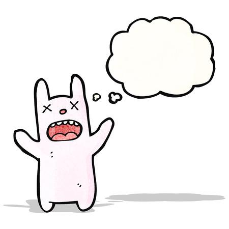 pink rabbit: cartoon pink rabbit