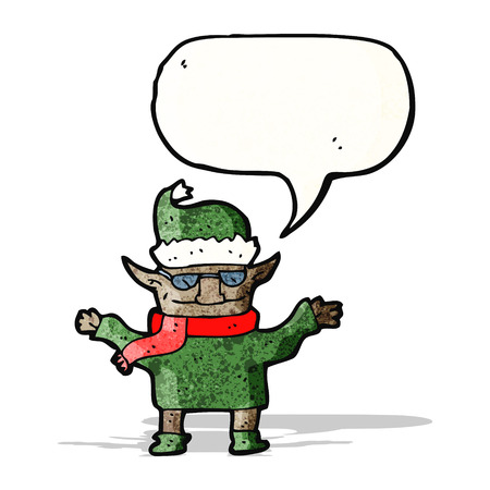 cool christmas elf cartoon Vector