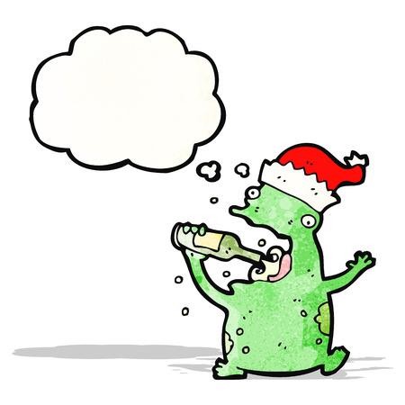 cartoon frog drinking beer Vector