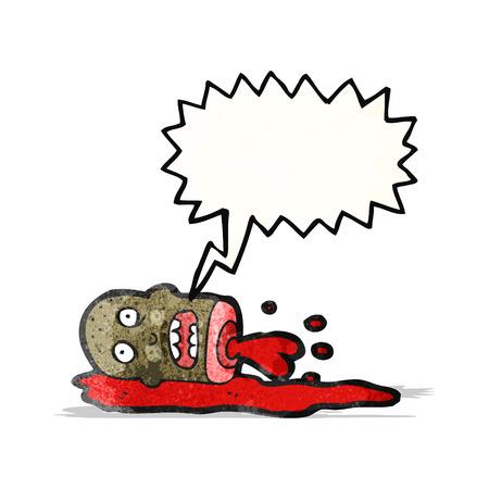 gross severed head cartoon Illustration