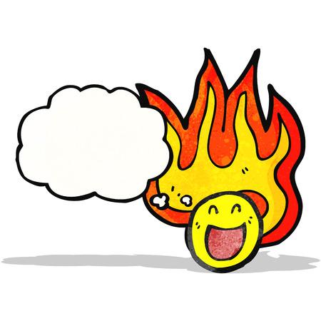 smilling: flaming emoticon face cartoon
