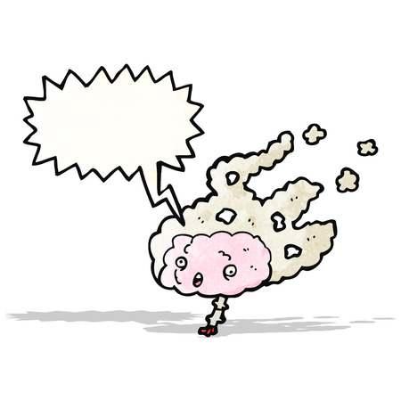 steaming brain with speech bubble