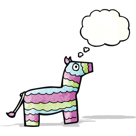 pinata: cartoon pinata with thought bubble Illustration