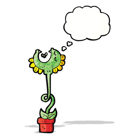 though: carnivorous flower with thought bubble