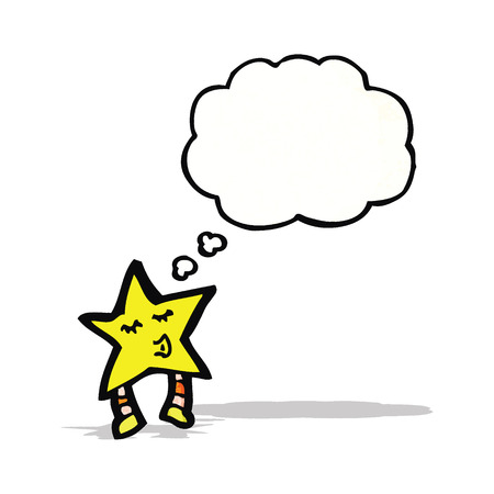 estrella caricatura: estrella de la historieta con la burbuja del pensamiento Vectores