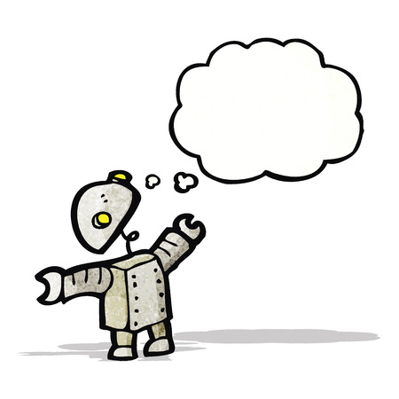 little robot with thought bubble cartoon Vector