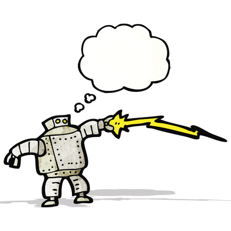 robot with thought bubble cartoon Vector