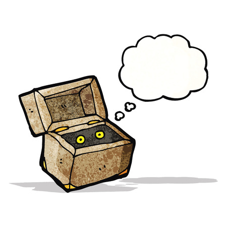 though: monster in box cartoon Illustration