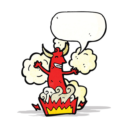 cartoon devil with speech bubble Vector