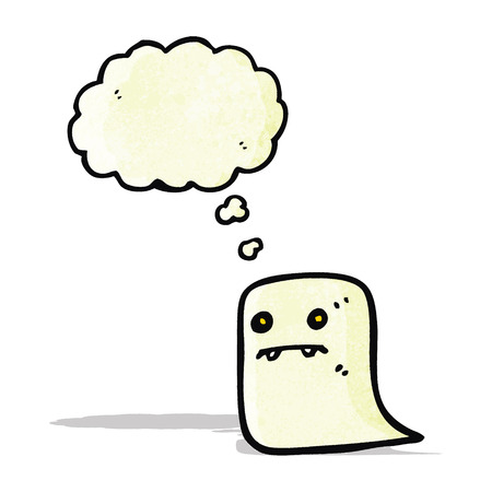 though: ghost with thought bubble cartoon Illustration