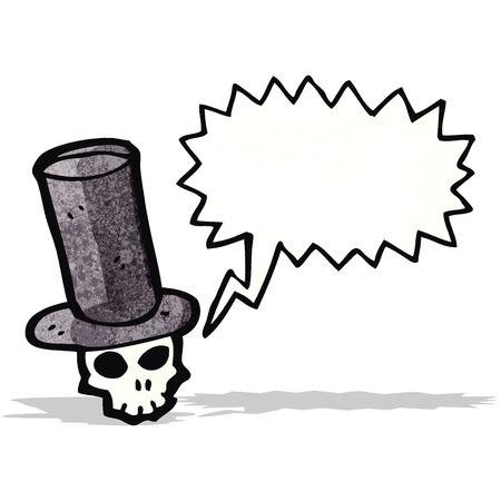 top hat: skull in top hat cartoon