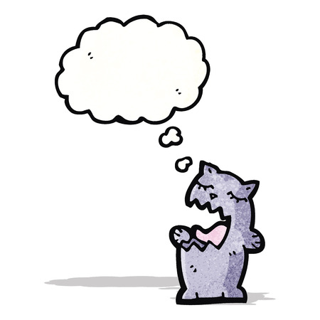 though: cartoon cat with thought bubble Illustration