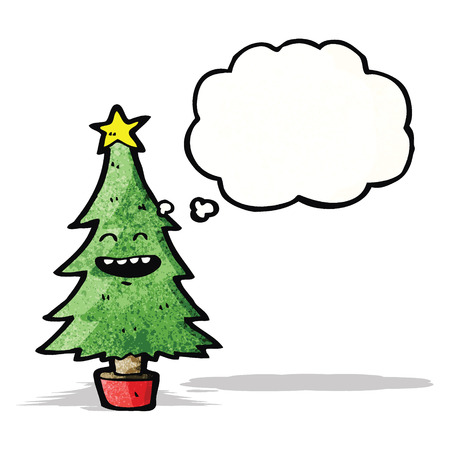 though: cartoon christmas tree with thought bubble