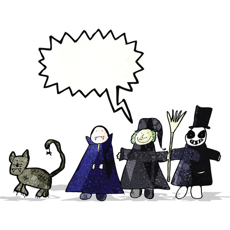 childs drawing of a halloween group Vector