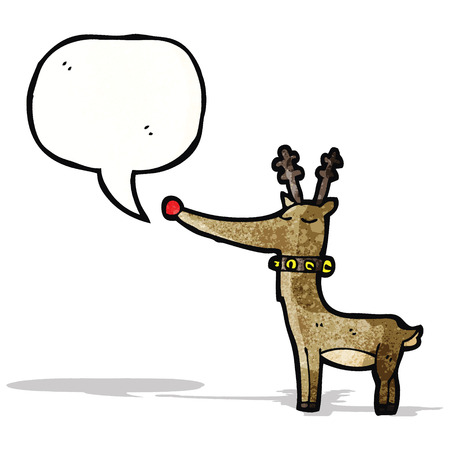 red nosed: cartoon reindeer with speech bubble